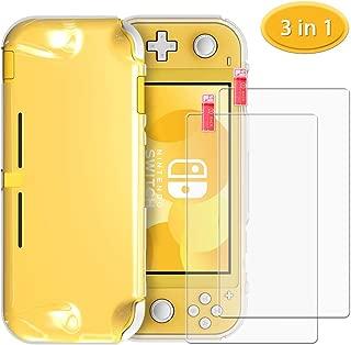 【Nintendo Switch Lite 2019対応- 3 IN 1 アクセサリ】6amLifestyle Nintendo Switch Lite カバー 【透明/人間工学 - 特別に設計された快適性】 + 2枚 Nintendo Switch Liteガラスフィルム 【9H硬度 / ブルーライトカット/0.3mm 超薄型/耐指紋/撥油性】