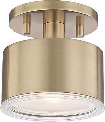 "Flush Mounts 1 Light Bulb Fixture with Aged Brass Finish Metal Glass Material G9 5"" 4 Watts"