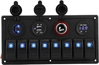 Qiilu Car Boat LED Rocker Switch Control Panel Dual USB Voltmeter Cigarette Lighter 12V 24V 8 Gang