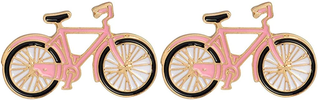 Charmart Bike Bicycle Shape Lapel Pin 2 Piece Set Enamel Brooch Pin Jacket Denim Collar Backpack Badges Gifts