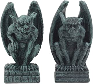 Ebros Notre Dame Guardian Mini Gargoyle Statue Set of 2 Miniature Fairy Garden Gargoyle Figurine Pair 2.5