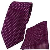 schöne TigerTie Designer Krawatte + Einstecktuch in lila violett purpur schwarz gepunktet