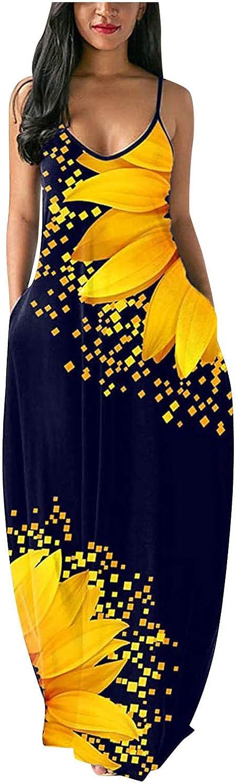 Zainafacai Long Maxi Dress for Women, Fashion Gradient Sunflower V Neck Sleeveless Summer Party Cami Dress with Pockets