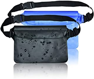 WeTest Swimming Waterproof Pouches with Adjustable Waist Strap,  2 Pack Dry Pouches Waterproof Phone Wallet for Beach Fishing Water Parks(Black, Blue)