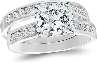 14K White Gold 1.2 CTW Princess Cut Classic Channel Set Wedding Set Bridal Band & Diamond Engagement Ring, G-H Color VS1-VS2 Clarity, 0.5 Ct Center
