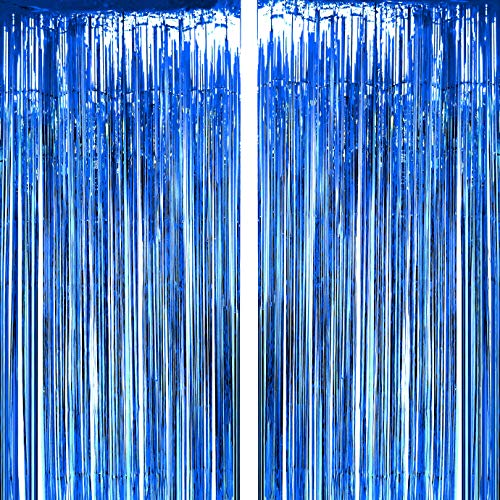 Blue Tinsel Foil Fringe Curtains - Under The Sea Baby Shower Nautical Birthday Graduation Wedding Summer Beach Pool Party Decor Photo Booth Props Backdrops Decorations, 2pc