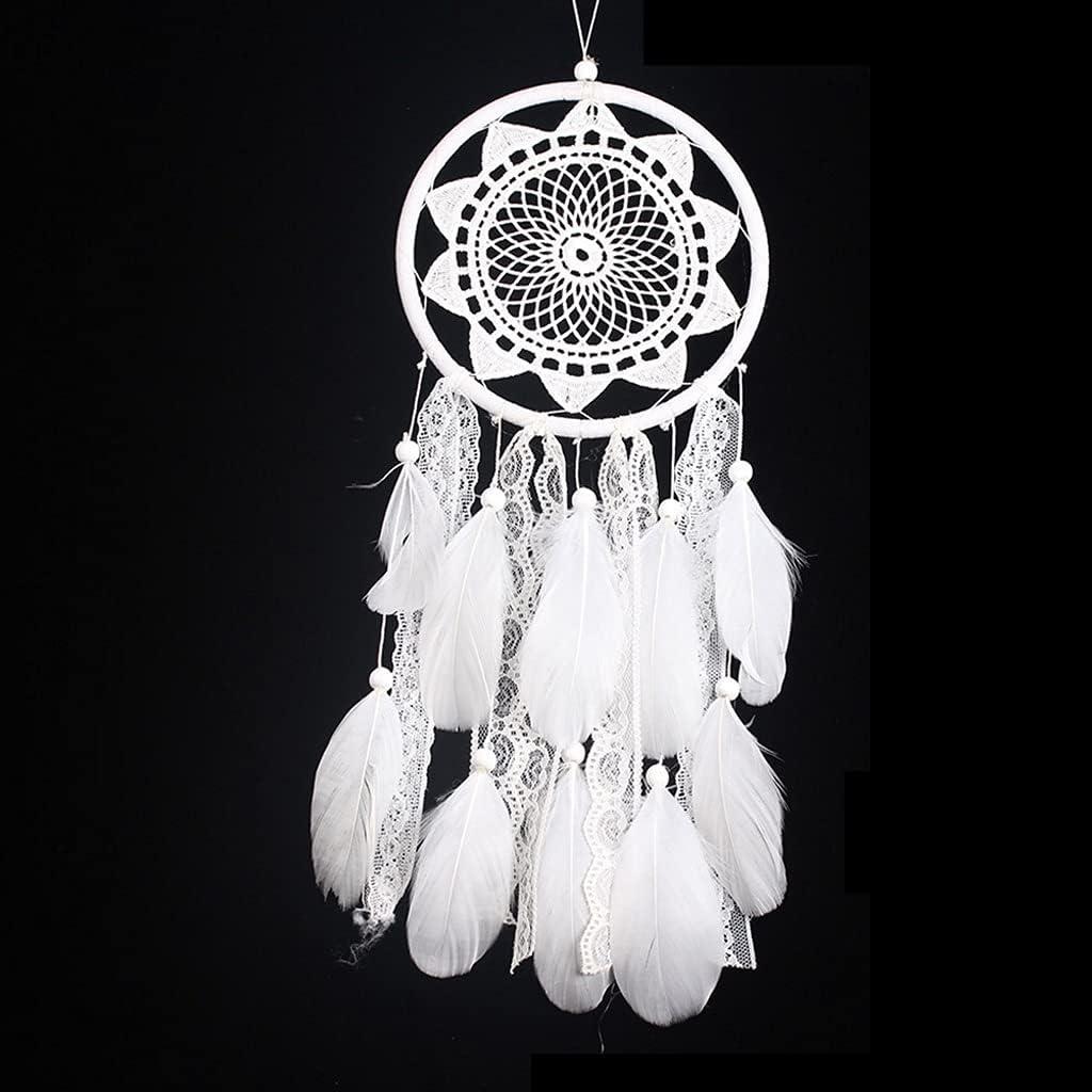JJSPP Blanco Dream Catcher Beads de Madera Cordón Flor Colgante Pluma Viento Negocios Regalos para la Pared de la Boda Ornamentos Colgantes