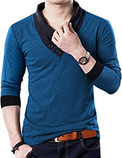 100% Cotton Mens Casual V-Neck Button Slim Muscle Tops Tee Short Sleeve T-Shirts
