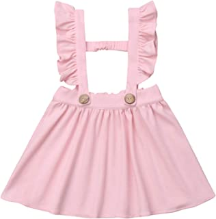 Baby Girl One Piece Ruffles Suspender Skirt Overalls Infant Solid Color Sleeveless Backless Dress Outfit 0-5T