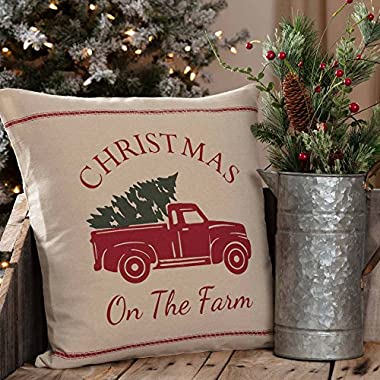 Piper Classics Christmas Tree Farm Throw Pillow Cover, 18  x 18 , Red Truck Country Farmhouse Holiday Décor