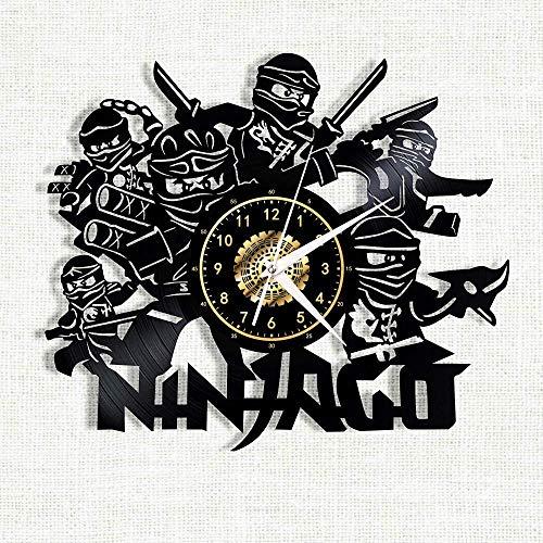 wwwff Ninjago Vinyl Record Wanduhr LED leuchtende Silhouette Record handgefertigte Kunst Schlafzimmer Dekor Geschenk mit LED-Licht 12 Zoll-with_Led_Light