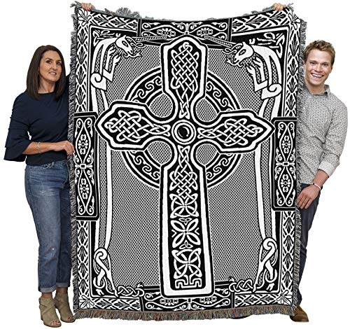 Pure Country Weavers Celtic Knots Cross with Unicorn BW Blanket Throw Woven from Cotton - Made in The USA (72x54)