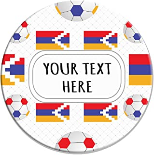 Sandstone Coasters Round Set of 4 Custom Nagorno Karabakh Flag Soccer Pattern adults -Coasters Only