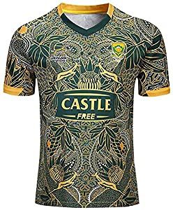 DEAN 2019-20 Rugby Jersey Australia and South Africa 100th Anniversary Edition Rugby Jersey Men Short Sleeve Leisure T-Shirt Tracksuits Commemorate-S by DEAN0003142
