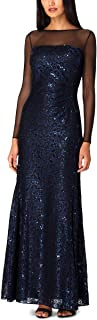 Tahari by ASL Women's Long Sleeve Sequin Lace Column Gown with Illusion Neckline