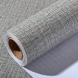 Linen Pattern Waterproof Shelf Drawer Liner Self-Adhesive Cabinet Sticker,Wallpaper 15.6Inch by 118Inch (Gray)