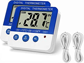 Fridge Freezer Thermometer Max/Min Memory LXSZRPH High & Low Temperature Alarms Settings with LED Indicator Digital Refrigeration Thermometer with Magnetic,Stander 2 pack