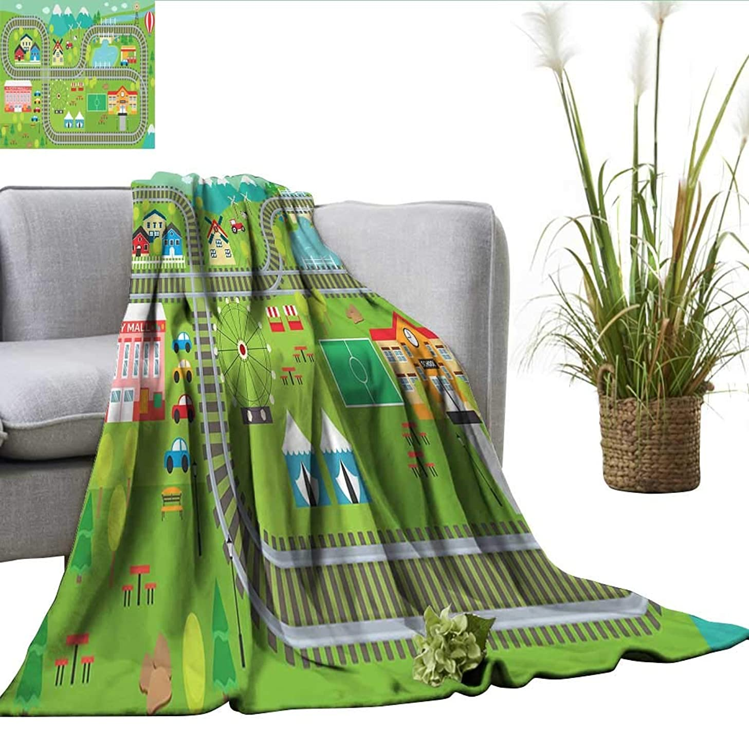 ScottDecor Kids Activity Plush Throw Blanket Train Tracks with Colorful Town School City Mall and Amusement Park Fair Fuzzy Blanket Multicolor W60 xL80