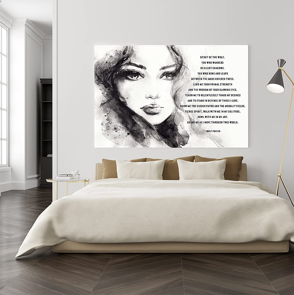 Native Max 85% OFF American Indian Quote Wall Price reduction Canvas Spirit of Wolf the -