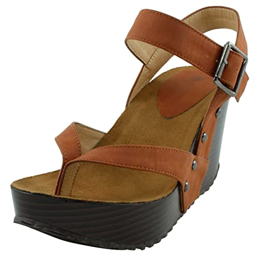 555ca7d7e67652 Cambridge Select Women s Studded Ankle Strappy Buckle Thong Platform Wedge  Sandal