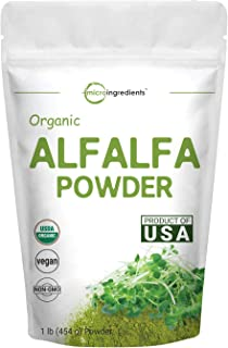 Sustainably US Grown, Organic Alfalfa Powder, 1 Pound (16 Ounce), Contains Immune Vitamin C and Minerals, Best Green Super...