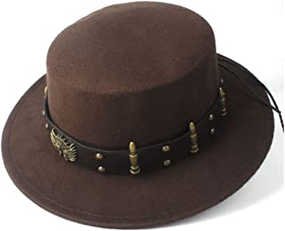 HongJie Hou Steampunk Women Men Wool Flat Top Fedora Hat Wide Brim Church Hat Outdoor Fascinator Casual Wild Hat Bowler Hat Size 56-58CM