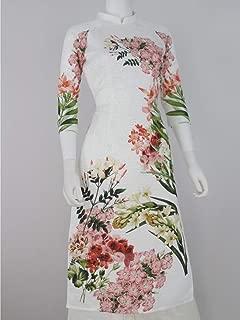 195Designs Áo Dài 3D Trắng Dân Gian HOA Xuân   White Flower Modern Vietnamese Ao Dai