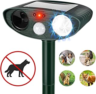 QKa Ultrasonic Dog Repellent, Solar Powered & Waterproof Pir Sensor Repeller for Cats, Dogs, Birds & Skunks & More Motion Activated LED Flashing Light