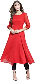 Sera Women's Solid Red Polyester Anarkali Fusion Calf Length Kurta and Palazzos Set