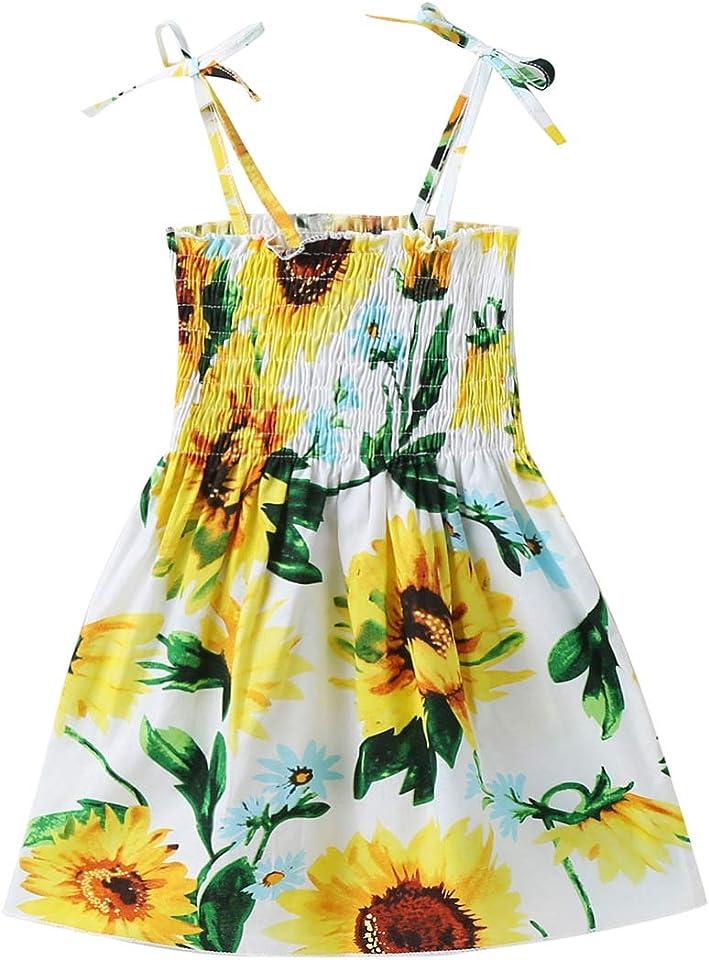 Baby Girls Dresses Sleeveless Floral Printed Summer Sling Sundress for Baby Girls
