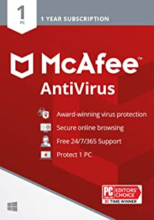 McAfee AntiVirus Protection, 1PC, Internet Security Software, 1 Year Subscription- [Key card ]- 2020 Ready