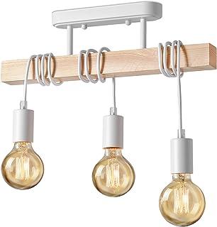 Lightess Suspension Luminaire Industrielle Plafonnier en Bois Métal 3 Bras Lampe Pendantif Lustre Vintage pour Chambre Sal...