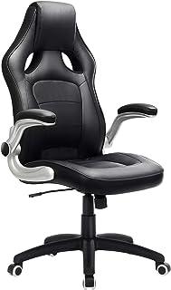 comprar comparacion Songmics OBG62B Racing - Silla Giratoria de Oficina, Recubrimiento de PU, Reposabrazos Ajustable, color Negro