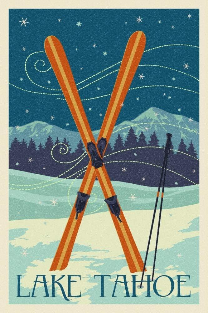 Lake Tahoe California 100% quality depot warranty Crossed 16x24 104308 Skis Letterpress