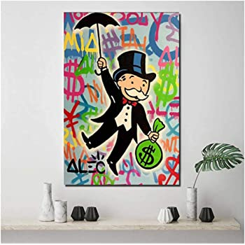 Alec Monopoly Scrooge Mcduck lienzo pintura impresiones sala de estar decoración del hogar moderno arte de la pared pintura al óleo carteles imágenes -50x60cm sin marco: Amazon.es: Bricolaje y herramientas