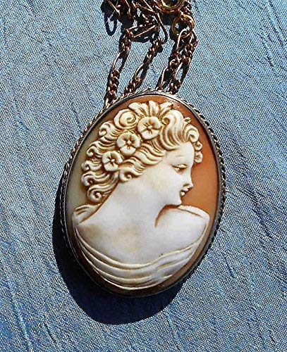 Antique Vermeil Gold Wash Silver Cameo LARGE Gorgeous Colorful Hand Carved Shell Cameo w/Flowers, Brooch/Pendant on 19 Inch GP Necklace