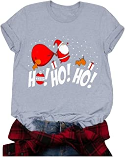 Women's Christmas Tops Letter Printed Round Neck Short Sleeve Blouse T-Shirts
