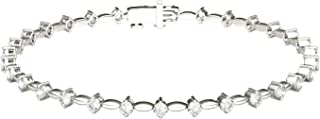 14K White Gold Moissanite by Charles & Colvard 2mm Round Tennis Bracelet, 0.93cttw DEW