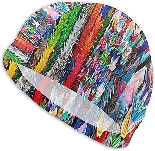 Gorro de natación suave con elasticidad suave, impermeable, cómodo, para mujeres y hombres-Origami, multicolor, tamaño único, no todos los que vagan están perdidos gorro de natación para cabello largo