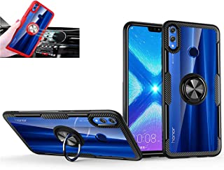 Huawei Honor 8X Case,360° Rotating Ring Kickstand Protective Case,TPU+PC Shock Absorption Double Protection Cover Compatible with [Magnetic Car Mount] for Huawei Honor 8X Case Black/black 1
