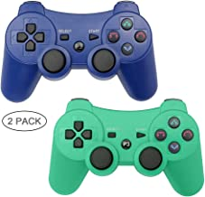 Autker PS3 Controller Wireless 2 Pack Playstation 3 Controller Double Vibration Bluetooth Dualshock 3 for PS3 with 2 Charging Cable (Blue+Green)
