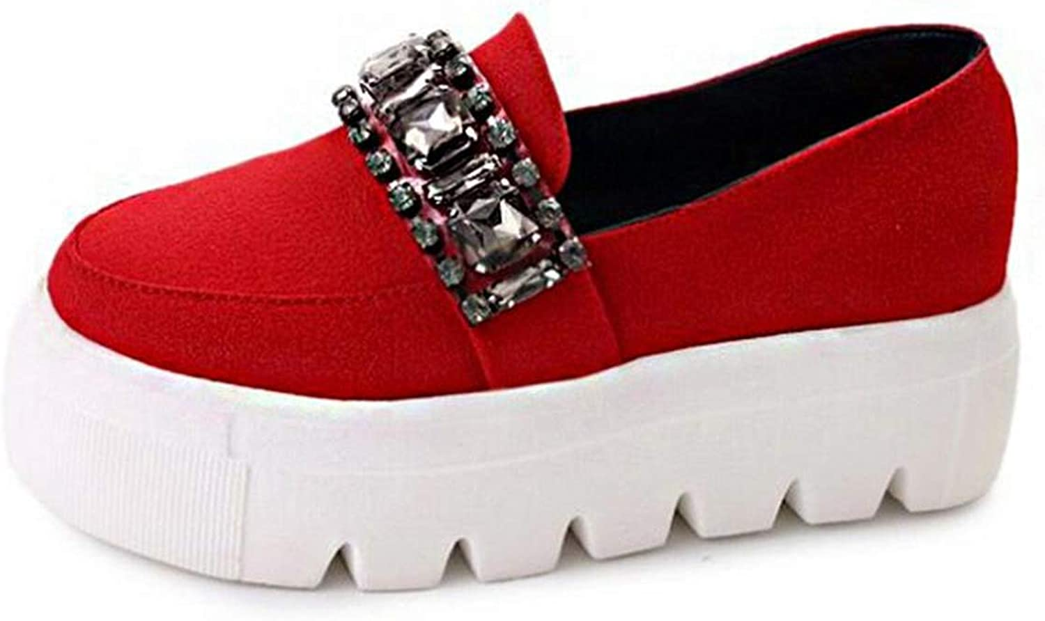 Rhinestone Spring Autumn Flat Platform shoes Shallow Slip On Flock Creepers Footwear shoes Loafers
