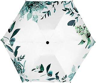 90cm Regenschirm Mini Taschenschirm 6 Schirmständer 5-Fach Tragbar für Wasserdicht Sonnenlicht Blockieren (Weiß)