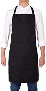 NEOVIVA Water Resistant Black Apron with 3 Pockets for Waitress Waiter Server in Kitchen, Shop, Restaurant, Bistro and Bar, Professional Cooking Apron for Men Women Chefs with Adjustable Neck Strap