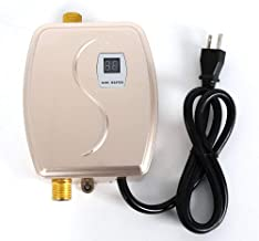 Electric Tankless Water Heater, 3000W Mini Instant Thermostatic Hot Water Heater for Bathroom Kitchen Washing Faucet Sink with Leakage Protection and LCD Digital Display US Plug 110V (Gold)