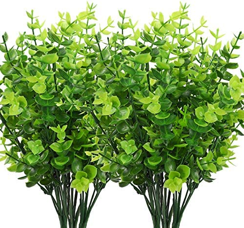 CEWOR 8pcs Artificial Greenery Plants Fake Plastic Boxwood Shrubs Stems for Home Wedding Courtyard product image