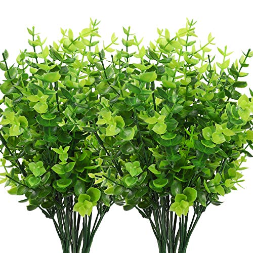 CEWOR 8pcs Artificial Greenery Plants Outdoor UV Resistant Fake Plastic Boxwood Shrubs Grasses Stems for Home Wedding Courtyard Indoor and Outside Garden Porch Patio Window Box Farmhouse Decoration