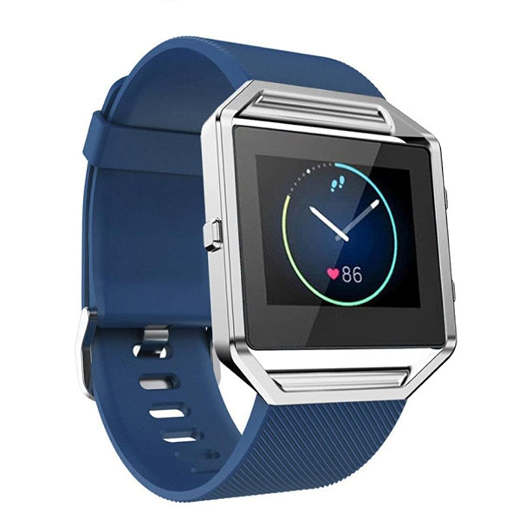 出席する人気のフォーカスHZOTB ソフトシリコンウォッチバンドリストバンドFitbit Blaze Smart Watch用 (青)