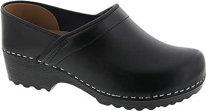 Bjork Karin Swedish Women's Pro Black Smooth Leather Clogs