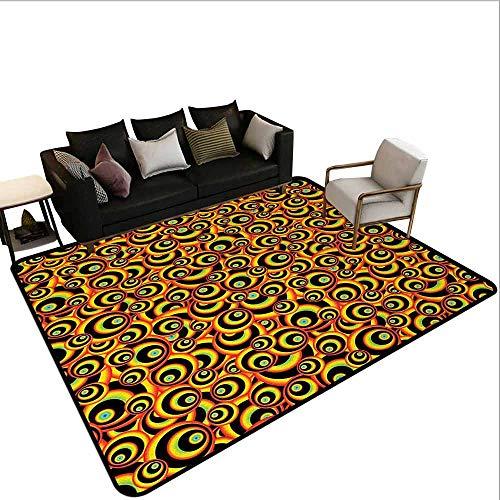 MsShe Vierkant tapijt Abstract, Naadloze Tegel Vector Patroon met Bloemen Ornament Figuren Print,Lime Groen en Jade Groen